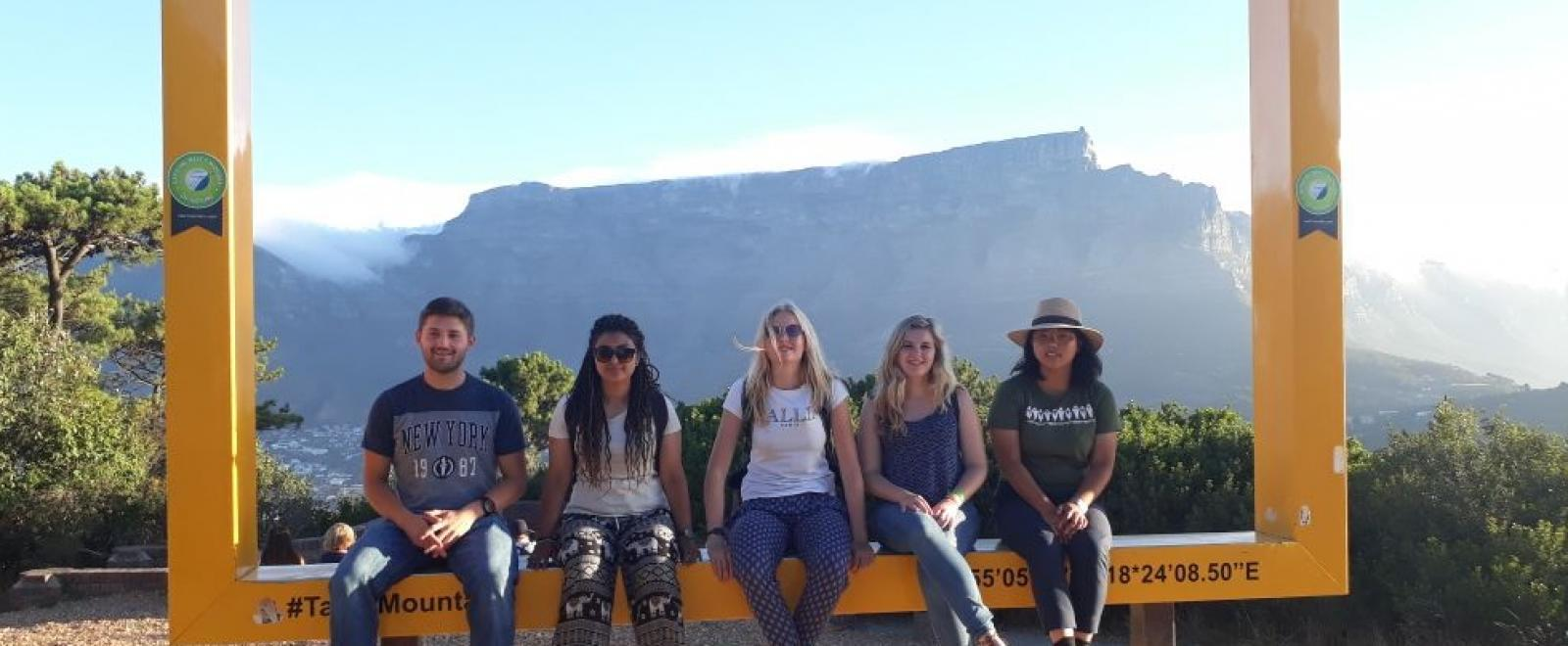 Table Mountains acts as a backdrop to a Projects Abroad volunteer's visit to Cape Town in South Africa.